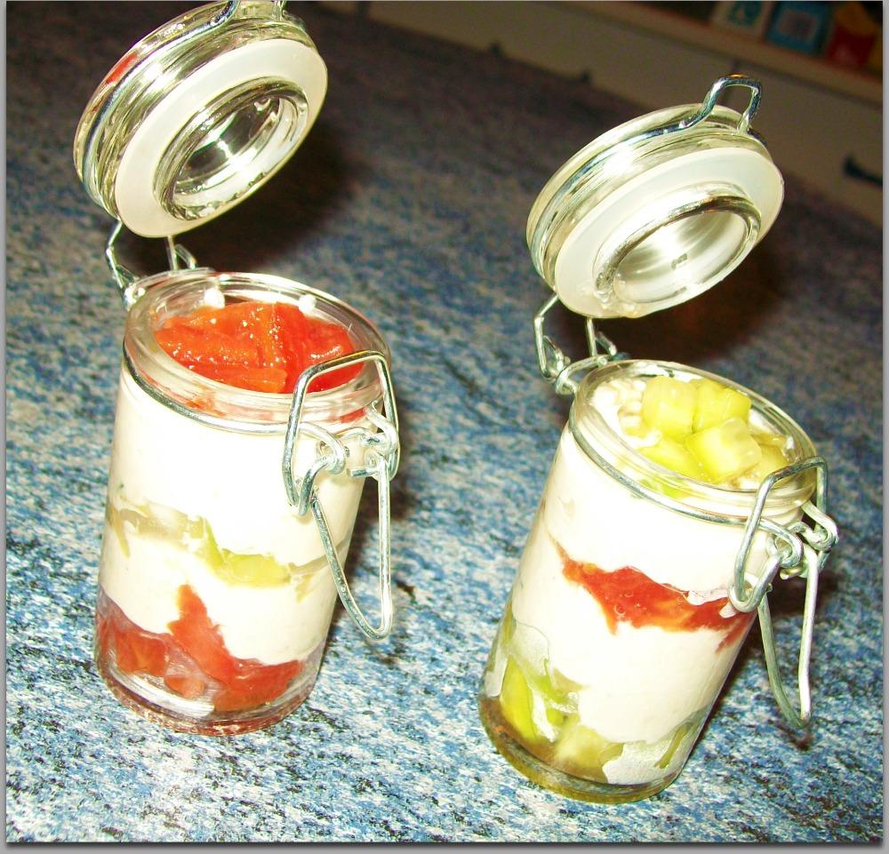 Verrines de crème de thon colorées